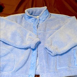 Powder Blue Fuzzy Button Up Coat